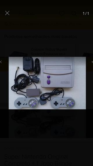 Super Nintendo 2 Controles E 1 Jogos + Cabos