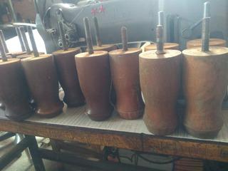 Patas Madera Torneada Rosca Metalica Alto12 Diam.6cm X 2
