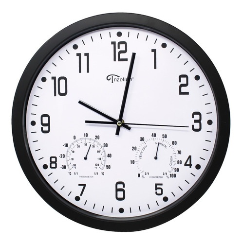 Imagen 1 de 7 de Reloj Pared Moderno Analogo Termometro E Higrómetro Trentino
