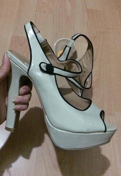 Zapatos Tacones Lauren Conrad Lc Patent Leather Beige!!