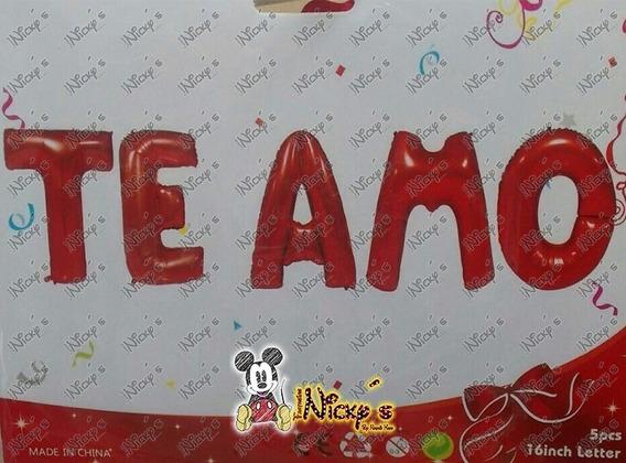 Globo De Letrero Te Amo 16pulg O 40 Cm Colores Amor Enamora