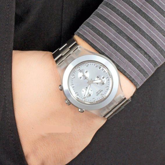 Relógio Swatch Diaphane Chronograph Blooded Silver Mens Novo
