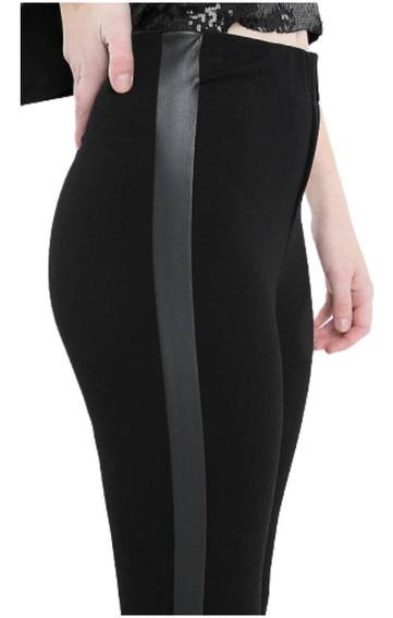 Calza Vestir Tipo Pantalón Elastizada Tira Lateral Eco Cuero