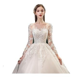 Nb06 Vestido De Noiva Renda Manga Longa Princesa Barato Véu