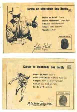 2 Cartões De Identidade Dos Heróis 15 E 17 (zorro E Robin)