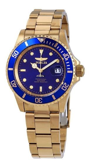 Relógio Invicta 26974 Pro Diver Quartz 40mm Dourado E Azul Original Importado