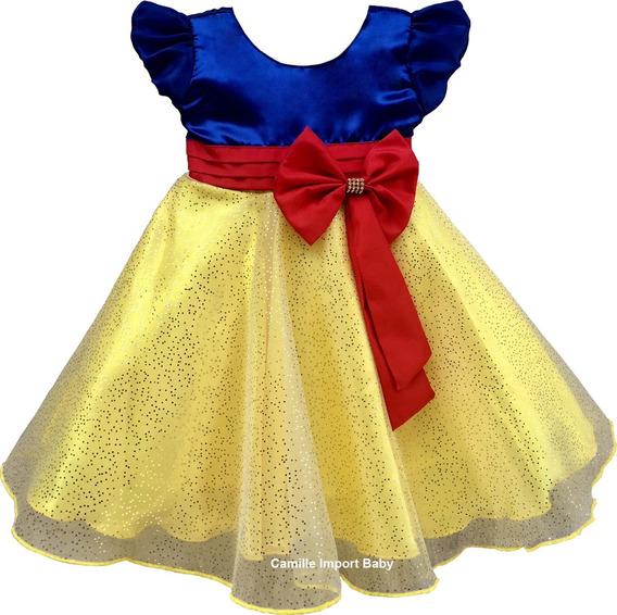 Vestido Infantil Branca De Neve Princesa Luxo Mega Promoção