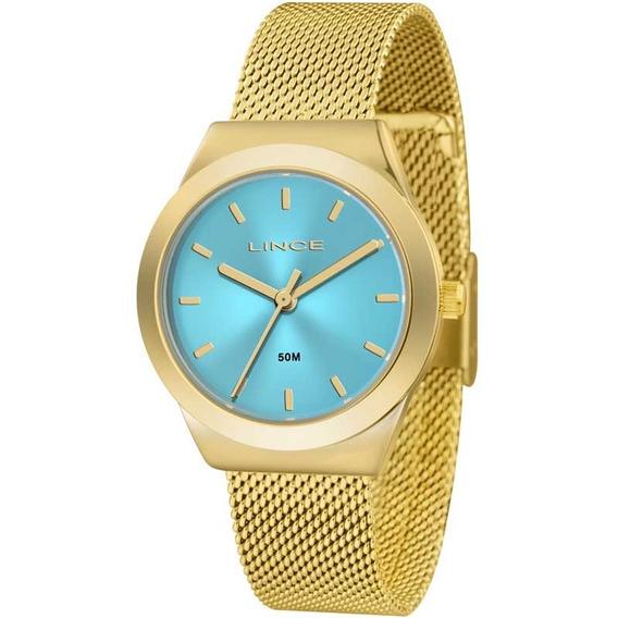 Relógio Lince Feminino Dourado Azul Barato Nota Lrg4493la1kx