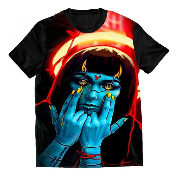 Camiseta Camisa Swag Mulher Desenho Skull Caveira Trap