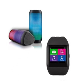 Relógio Smartwatch Sw1 Bluet + Caixa De Som Bluet Led Light