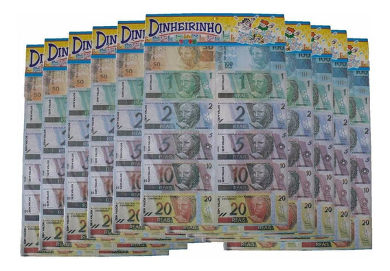 10 Emb. Mini Dinheiro Brinquedo-dinheirinho C/100 Cada Emb