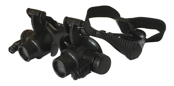 Óculos Lupa Cabeça 8 Lentes Led Ourives Relojoeiro Técnico