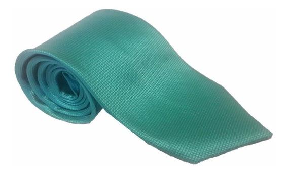 Corbata Turquesa Microcuadro Gran Calidad