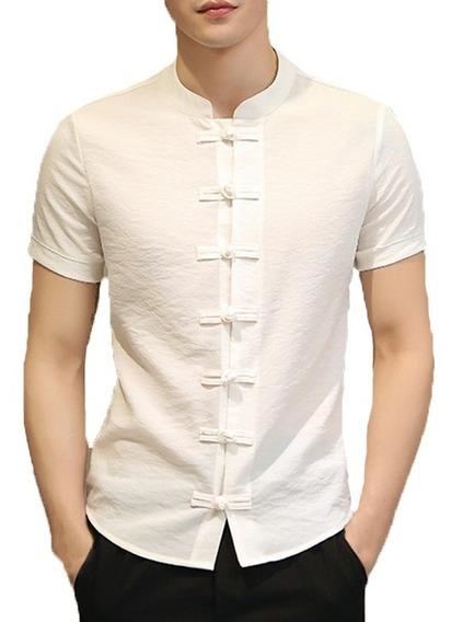 Camisa Hombre Cuello Mao Manga Corta Boton Chino