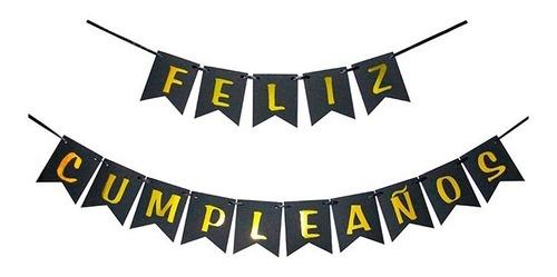 Banderin Feliz Cumpleaños Negro Y Letras Dorado Deco Cumple