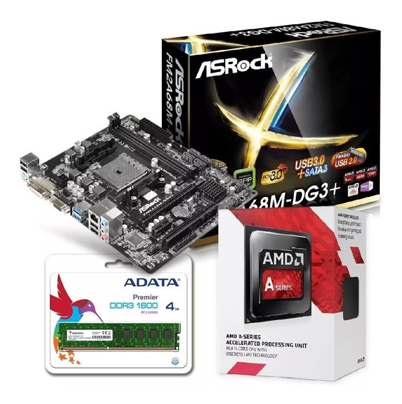 Combo Actualización Pc Amd A6 7480 Mother A68 Vga 4gb Matx