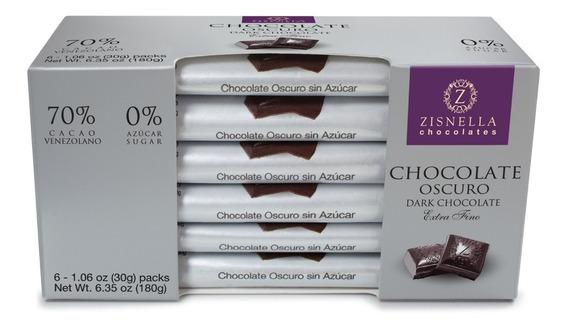 Chocolate Oscuro Sin Azúcar Añadida 30g 70% Cacao (6 Unid)