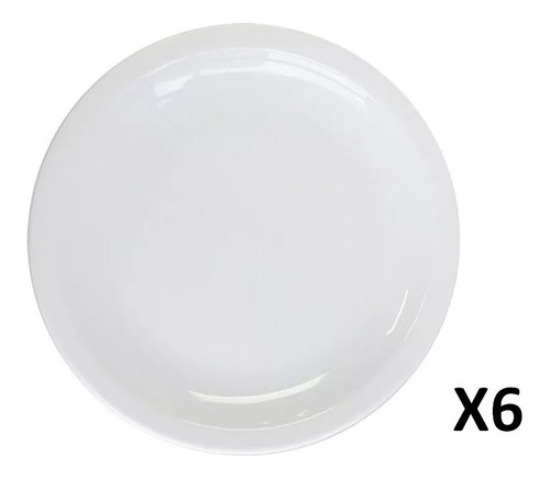 Imagen 1 de 2 de Plato Playo 24 Cm Gastronomico Porcelana Blanco X 6 Unidades