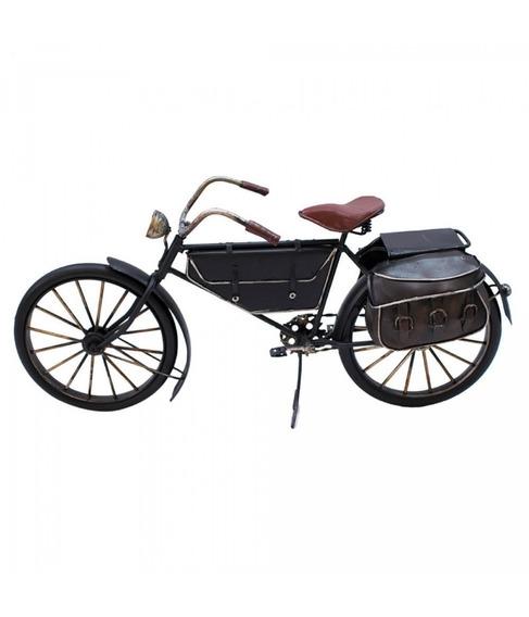 Bicicleta Miniatura Preta Com Bolsas 32 Cm - Retrô Vintage