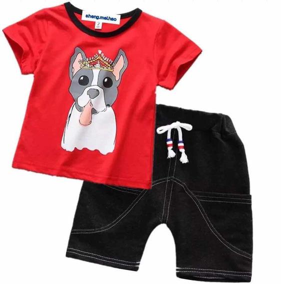 Conjunto Para Niño Playera Y Short Perro Con Corona