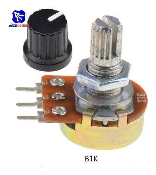 Potenciômetro Linear 3 Pinos B20k Com Knob - Kit C/ 10 Peças