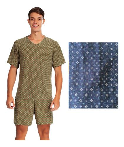 Pijama Meia Manga Curta Masculino Short Malha Fria Liganete