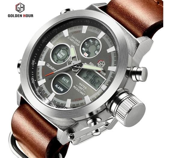 Relógio Masculino Esportivo Militar Golden Hour Couro Luxo