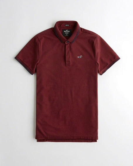 Hollister Strech Shrunken Collar Polo Burgundy