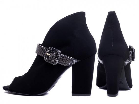 Bota Ankle Boot Feminina Em Nobuck Preto Lindo Design