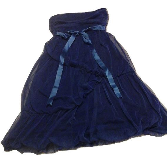 Vestido De Fiesta Strapless. Modal/ Seda Fría Y Tul.