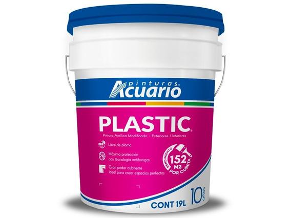 Pintura Vinílica Plastic Acuario Color Blanco Int/ext 19 Lit