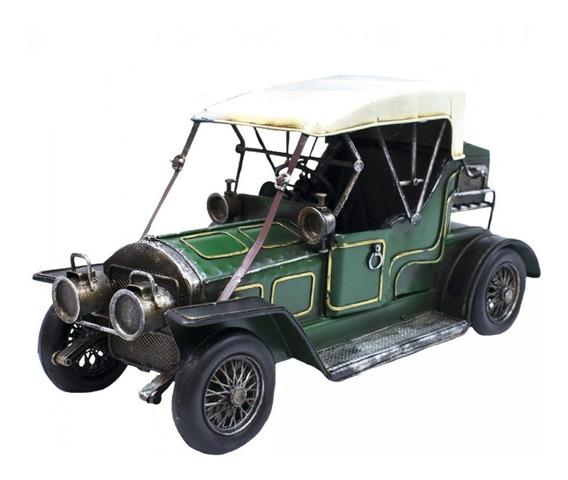 Carro Antigo Verde Miniatura 33 Cm Estilo Retro Vintage