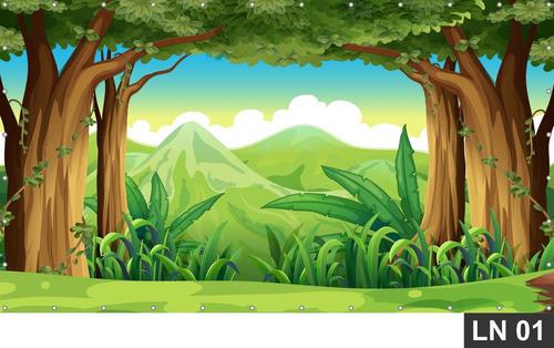 Imagem 1 de 6 de Floresta Encantada Painel 3,00x1,80m Lona Festa Aniversário
