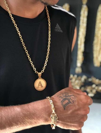 Cordão Cadeado 4mm Banhada À Ouro 18k De Moeda Antiga