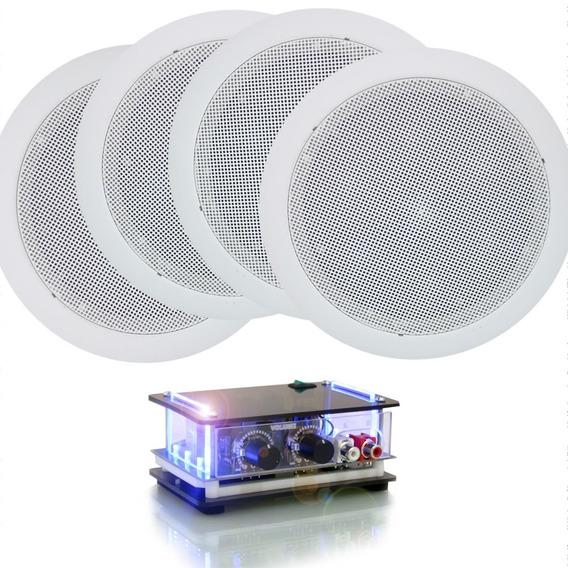Kit Som Ambiente Amplificador Pc + 4 Caixa Acustica Gesso