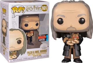 Funko Pop Harry Potter 6 Filch & Mrs,norris *comic Nycc* 101