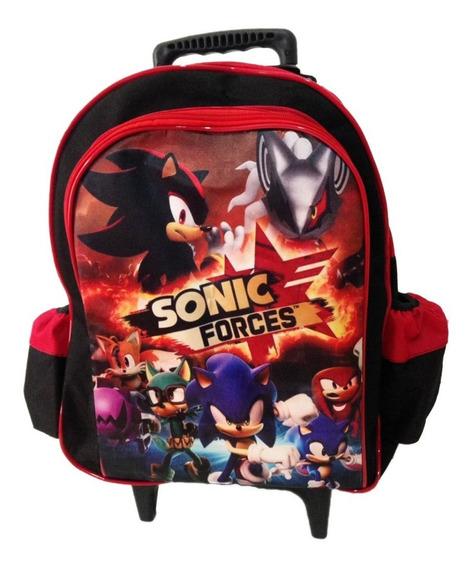 Mochila Sonic G Com Rodas + Estojo Duplo