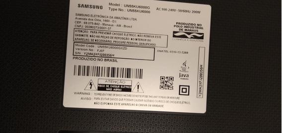 Tv Samsung Smart 4k 55pol Un55ku6000g Tela Quebrada