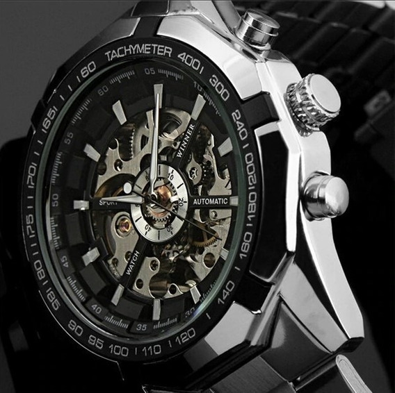 Relógio Automático Mecânico Winner Silver