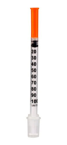 Seringa De Insulina 1ml C Agulha 0,30mm X 8mm Bag C/ 100 Un