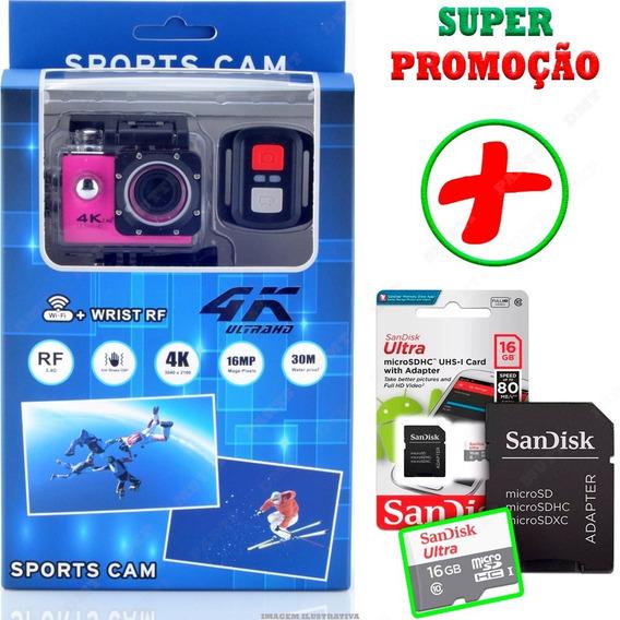 Camera Sport Ação Filmadora Wifi 4k + Sd Card Controle Moto