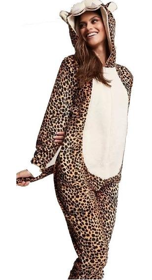 Forever 21 Mameluco Afelpado Con Gorro Leopardo Pijama