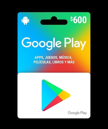 Imagen 1 de 1 de Tarjeta De Google Play De $600 Oferta