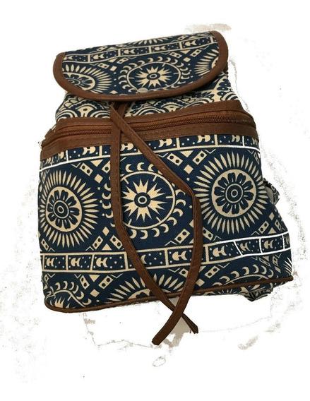 Mochila En Lona Blue Etnic Miscellaneous By Caff