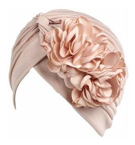 Turbante Plisado 2 Flores Moda Chic Fiesta Quimio Alopicia