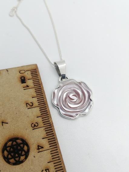 Collar Dige Flor Rosa En Madre Perla Y Plata Fina 925 Ley