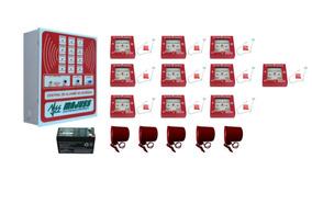 Central Alarme De Incêndio 10 Acionadores 5 Sirenes Bateria