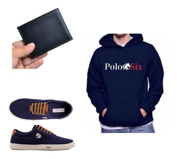 Kit Polo Blusa De Moleton Sapatenis + Carteira Original