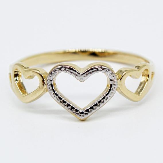 Anel Feminino 3 Corações Vazados Delicado Banhado Ouro 18k