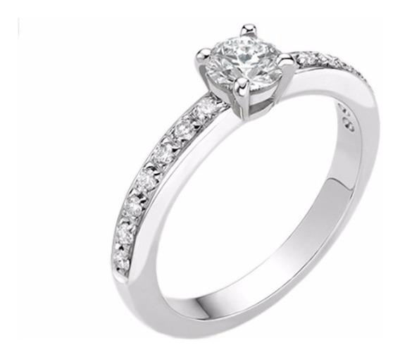 Anel Solitário Com Diamantes Em Ouro Branco 18k - Als008